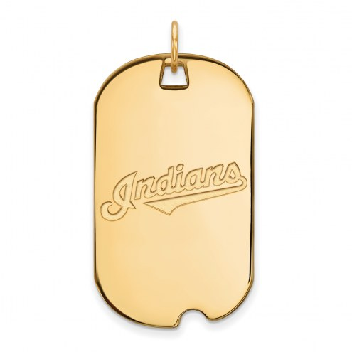 Cleveland Indians Sterling Silver Gold Plated Large Dog Tag