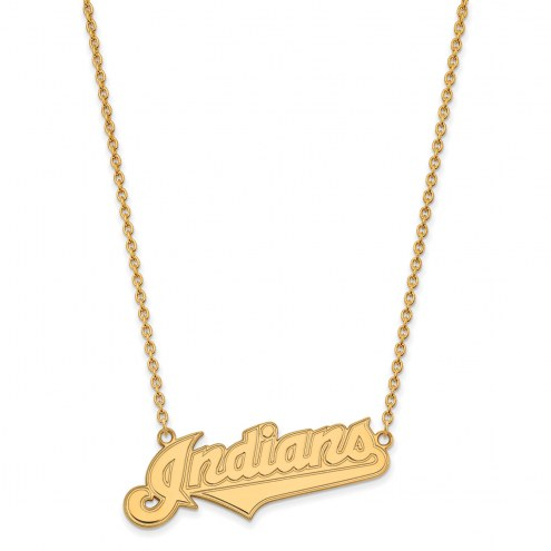 Cleveland Indians Sterling Silver Gold Plated Large Pendant Necklace