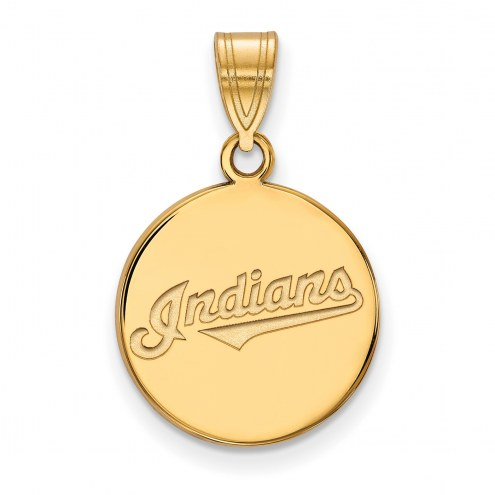 Cleveland Indians Sterling Silver Gold Plated Medium Disc Pendant