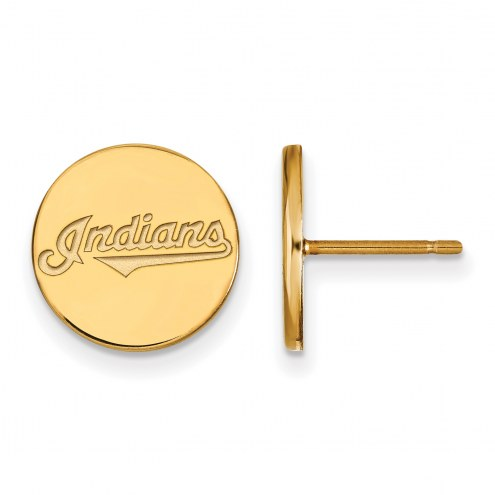 Cleveland Indians Sterling Silver Gold Plated Small Disc Earrings