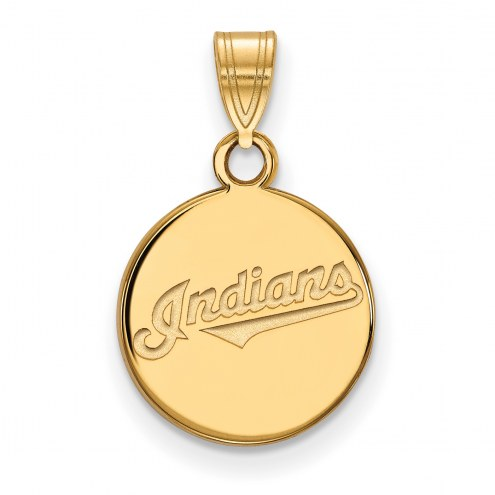 Cleveland Indians Sterling Silver Gold Plated Small Disc Pendant