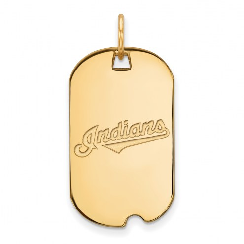 Cleveland Indians Sterling Silver Gold Plated Small Dog Tag