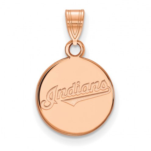 Cleveland Indians Sterling Silver Rose Gold Plated Small Disc Pendant