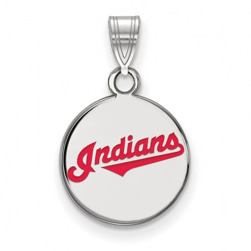 Cleveland Indians Sterling Silver Small Enameled Pendant Necklace
