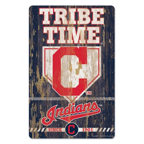 Cleveland Indians Slogan Wood Sign