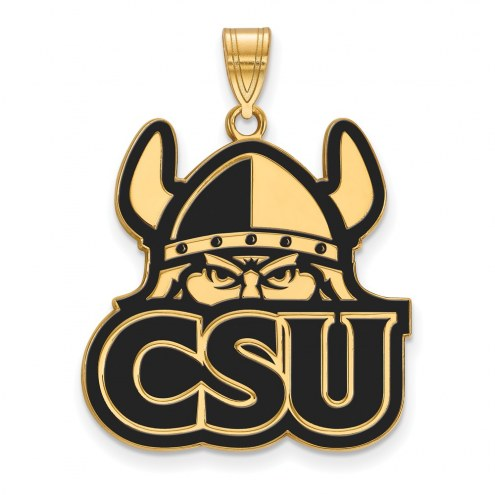 Cleveland State Vikings Sterling Silver Gold Plated Extra Large Enameled Pendant