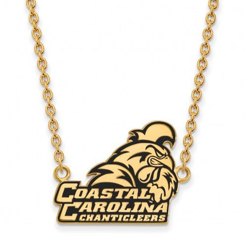 Coastal Carolina Chanticleers Sterling Silver Gold Plated Large Pendant Necklace