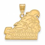 Coastal Carolina Chanticleers Sterling Silver Gold Plated Large Pendant