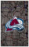 "Colorado Avalanche 11"" x 19"" City Map Sign"