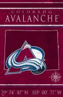 """Colorado Avalanche 17"""" x 26"""" Coordinates Sign"""