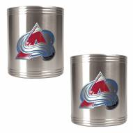 Colorado Avalanche 2-Piece Stainless Steel Can Koozie Set - Primary Logo