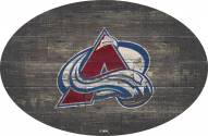 """Colorado Avalanche 46"""" Distressed Wood Oval Sign"""