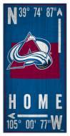 """Colorado Avalanche 6"""" x 12"""" Coordinates Sign"""