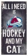 "Colorado Avalanche 6"" x 12"" Hockey & My Cat Sign"