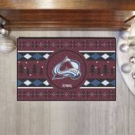 Colorado Avalanche Christmas Sweater Starter Rug