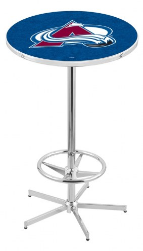 Colorado Avalanche Chrome Bar Table with Foot Ring