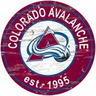Colorado Avalanche Distressed Round Sign
