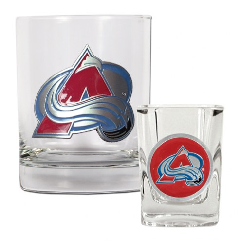 Colorado Avalanche NHL Rocks Glass and Square Shot Glass - 2 Piece Set