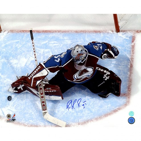 """Colorado Avalanche Patrick Roy Overhead In Crease Signed 16"""" x 20"""" Photo"""