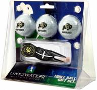 Colorado Buffaloes Black Crosshair Divot Tool & 3 Golf Ball Gift Pack