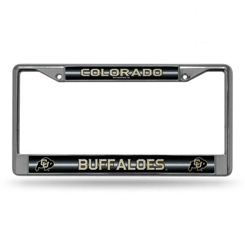 Colorado Buffaloes Chrome Glitter License Plate Frame