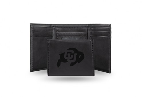 Colorado Buffaloes Laser Engraved Black Trifold Wallet