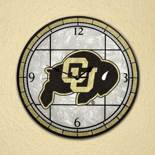 Colorado Buffaloes NCAA Stained Glass Wall Clock