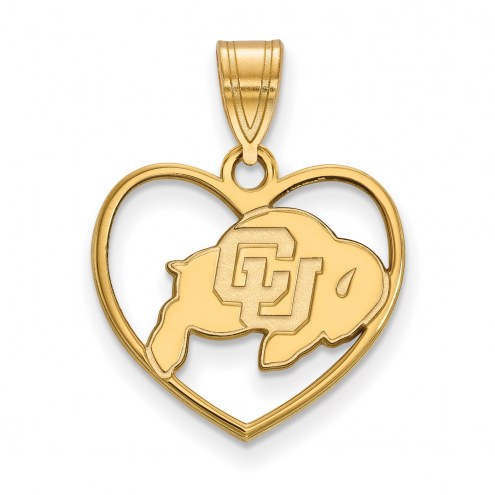Colorado Buffaloes Sterling Silver Gold Plated Heart Pendant