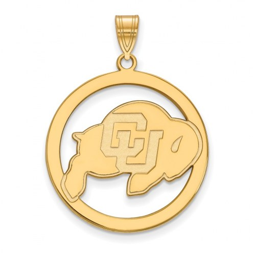 Colorado Buffaloes Sterling Silver Gold Plated Large Circle Pendant