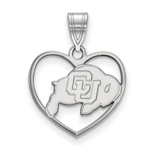 Colorado Buffaloes Sterling Silver Heart Pendant