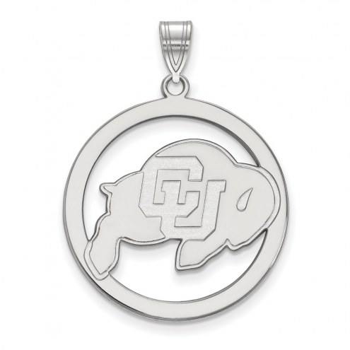 Colorado Buffaloes Sterling Silver Large Circle Pendant
