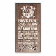 Colorado Rockies Family Rules Icon Wood Framed Printed Canvas