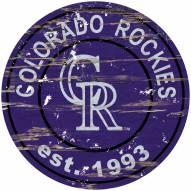 Colorado Rockies Distressed Round Sign