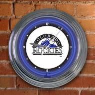 Colorado Rockies MLB Neon Wall Clock