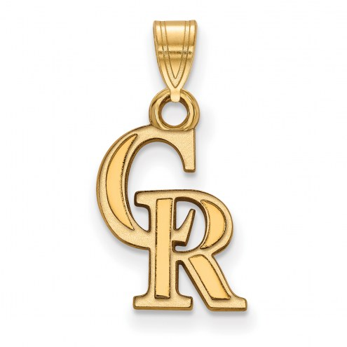 Colorado Rockies MLB Sterling Silver Gold Plated Small Pendant