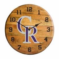 Colorado Rockies Oak Barrel Clock