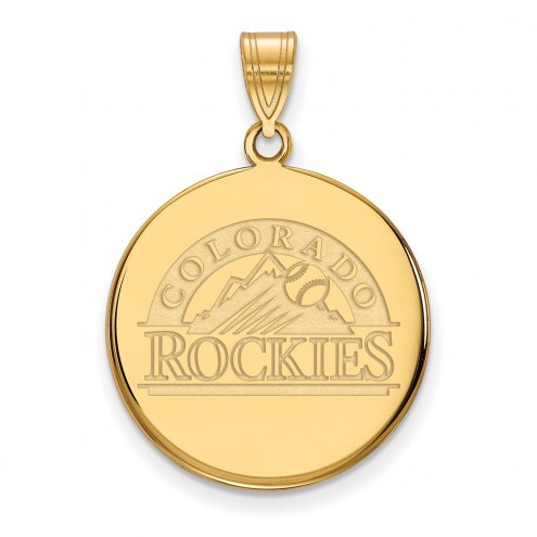 Colorado Rockies Sterling Silver Gold Plated Large Disc Pendant