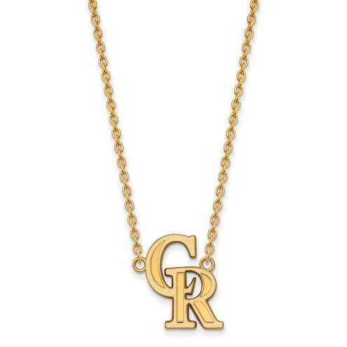 Colorado Rockies Sterling Silver Gold Plated Large Pendant Necklace
