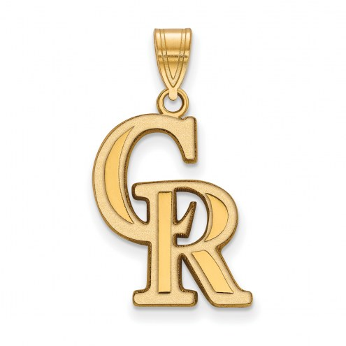 Colorado Rockies Sterling Silver Gold Plated Large Pendant