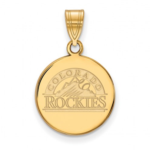 Colorado Rockies Sterling Silver Gold Plated Medium Disc Pendant