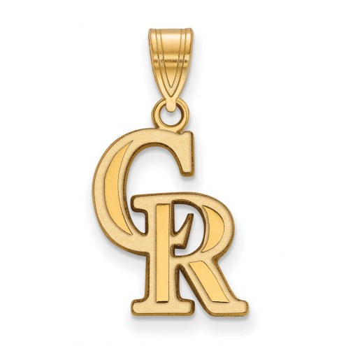 Colorado Rockies Sterling Silver Gold Plated Medium Pendant