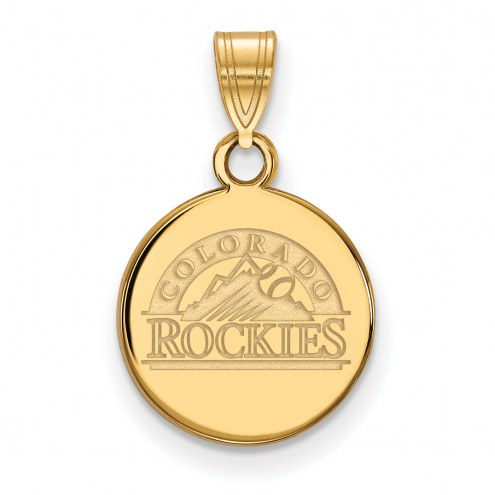 Colorado Rockies Sterling Silver Gold Plated Small Disc Pendant