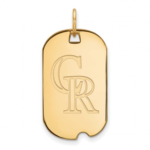 Colorado Rockies Sterling Silver Gold Plated Small Dog Tag