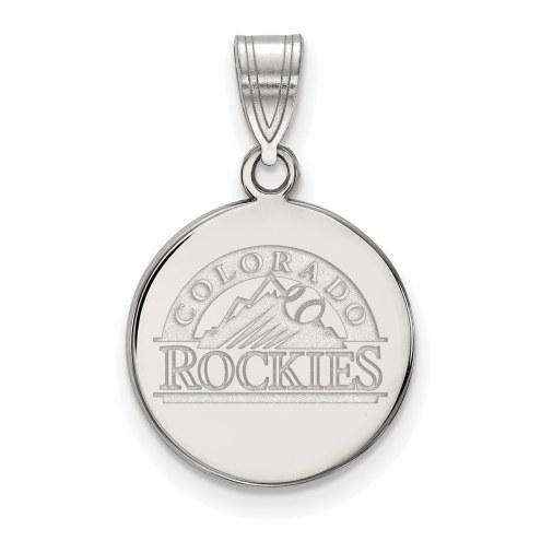 Colorado Rockies Sterling Silver Medium Disc Pendant
