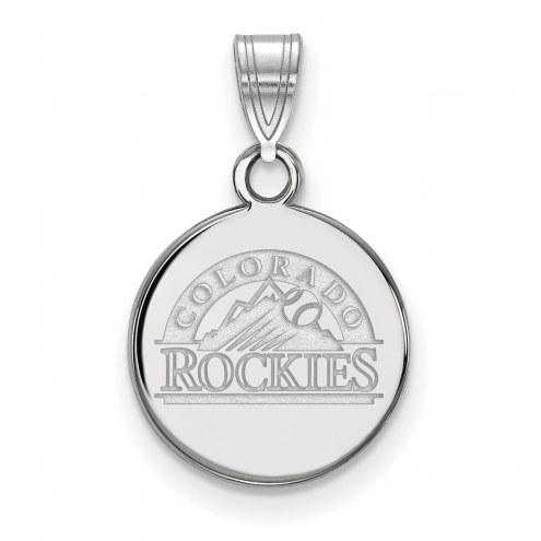 Colorado Rockies Sterling Silver Small Disc Pendant