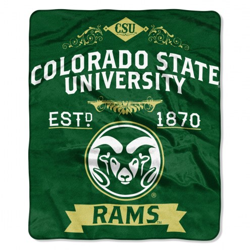 Colorado State Rams Label Raschel Throw Blanket