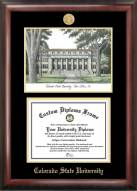 Colorado State Rams Gold Embossed Diploma Frame with Campus Images Lithograph