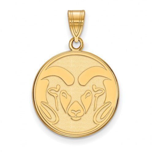 Colorado State Rams NCAA Sterling Silver Gold Plated Large Pendant