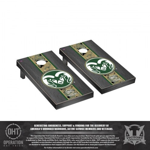 Colorado State Rams Operation Hat Trick Onyx Stained Cornhole Game Set