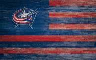 "Columbus Blue Jackets 11"" x 19"" Distressed Flag Sign"
